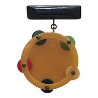 1930s Art Deco Multicolor Bakelite Dangling Figural Tambourine Brooch Pin