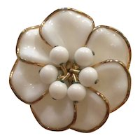 TRIFARI Poured Milk Glass Goldtone Floral Brooch Pin With Bead Center