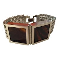 Machine Age Style 1970s Flexible Bracelet with Two Tortoise Acetate Squares Detail