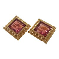 1980s GIVENCHY Goldtone Large Square Rose Bevelled Crystal Clip Earrings