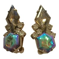 Verified Delizza and Elster D and E Borealis and Smoky Topaz Cut Stone Clip Earrings