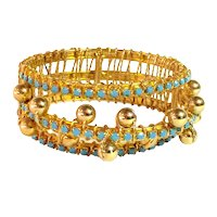 William DeLillo 1960s Space Age Gold Wire Wrapped Turquoise Faceted Stonework Hinged Bracelet