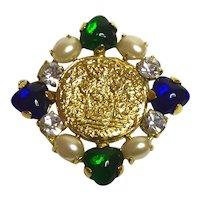 1990s CHANEL Goldtone Mogul Style Poured Glass Pearl Cabochon Huge Diamante Brooch Pin