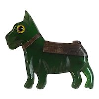 1930s Art Deco Green Bakelite and Wood Laminated Scotty Dog Pin Brooch