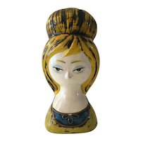 1960s Japanese Paper Mache Wig Stand Piggy Bank