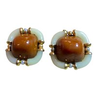 Archimede Seguso for CHANEL Brown and Cream Blown Glass Domed Cabochon RARE Clip Earrings