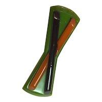 1930s Art Deco Geometric Multicolored Bakelite Bar Brooch X Pin