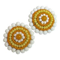 Miriam Haskell Circular White Orange and Yellow Circular Glass Bead Clip Earrings