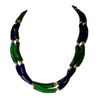 Archimede Seguso for CHANEL Cobalt Blue and Emerald Green Blown Glass Double Strand Necklace