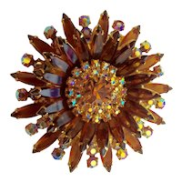 Verified D and E Delizza and Elster Amber and Aurora Borealis Starburst  Floral Brooch Pin