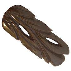 1930s Art Deco Brown Bakelite Pierced Small Leaf Rectangular Brooch Pin