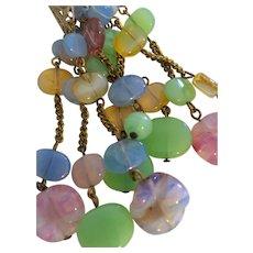 Pastel Multicolor Opaline Glass Long Necklace with Pendant of Multicolor Opaline Glass and Brass Tasselwork