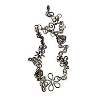 Martha Sturdy Vancouver Modernist Geometric Bronze Coiled Floral and Knotted Ball Necklace