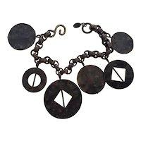 Martha Sturdy Vancouver Modernist Geometric Bronze Charm Bracelet