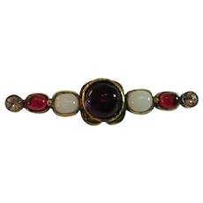 1980s CHANEL Gripoix Glass Couture Bar Pin Brooch