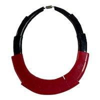 1930s French Auguste Bonaz SIGNED Red and Black RARE Galalith Necklace