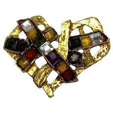 1990s Christian Lacroix Iconic Gilt Metal and Exotic Stonework Heart Brooch Pin