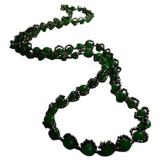 1960s William DeLillo Faux Jade and Hematite Oversized Long Necklace