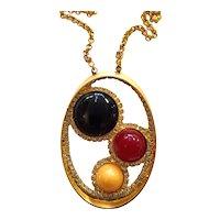 1960s William DeLillo Goldtone Modernist Oval Pendant Necklace