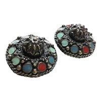 1980s  Jean-Paul Gaultier Baroque Talosel Inlaid Medieval Style Pierced Earrings