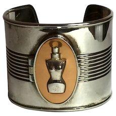 1980s  Jean-Paul Gaultier Rare Solid Perfume Locket Silvertone Cuff Bracelet