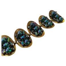 Schiaparelli 5 Pleated Goldtone Oval Cabochon Encrusted Link Bracelet