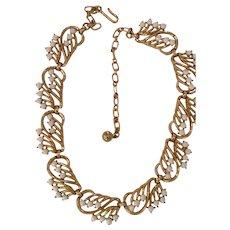 Late 1950s TRIFARI Goldtone Milk Glass Tailored Necklace