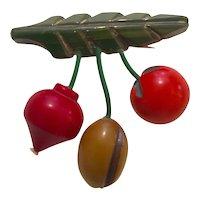 1930s Art Deco Bakelite Multicolor Vegetables Pin Brooch Radish Olive Tomato