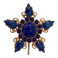 William DeLillo 1960s Faux Lapis Stone Star Shaped Hat Pin with Pin Cover