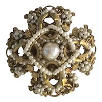 1950s Fine MIRIAM HASKELL Simulated Baroque Seed Pearl Iron Cross Form Brooch Pin