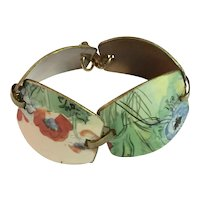 1920s style Floral Delicately Painted Enamel on Copper  Link Bracelet