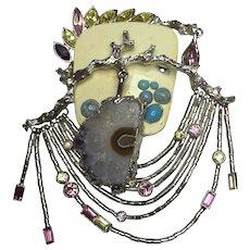 RARE Huge Christian Lacroix Artisan Druze Quartz and Silver/Stone Brooch Pin