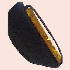 1930s Raisin Toned Brocade Purse with Brocade and Bakelite Handle