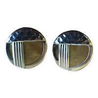 1930s Art Deco Celluloid Silver Overlay Geometric Disc Pierced Earrings