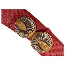 Judith Leiber RED Snakeskin Belt with Mixed Metals Buckle