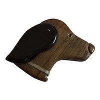 1930s Art Deco  Figural Bakelite Wood Pivoting Ear DOG Pin Brooch