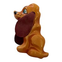 Martha Sleeper 1930s Resin Washed and Brightly Painted Bakelite Snarling Dog Brooch Pin with Leather Floppy Ears