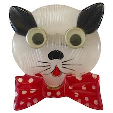 1940s Lucite Acrylic Reverse Carved and Painted Googly Eyed Cat Brooch Pin