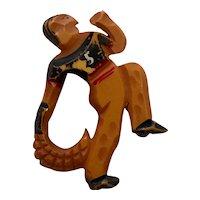 1930s Art Deco  Figural Bakelite Jai-Alai Player Pin Brooch