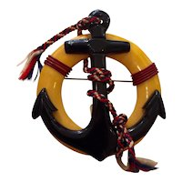 1930s Art Deco  Figural Bakelite Anchor in Life Preserver Nautical Themed Pin Brooch
