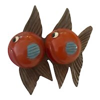 1930s Art Deco  Figural Bakelite and Wood Double Fish Brooch Pin