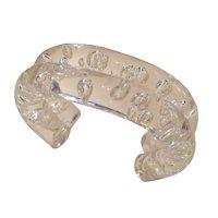 Judith Hendler Acri Gems Double Tube Champagne Bubbles Clear Acrylic Cuff Clamp Bracelet