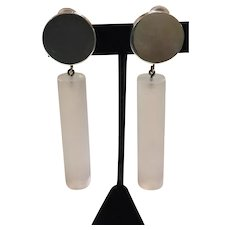 Judith Hendler Acri Gems Frosted Clear Acrylic Tube and Sterling Silver Drop Clip Earrings