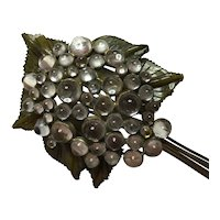 1930s RARE Bakelite and Acrylic BLUMENTHAL Dewdrops on Leaves Brooch Pin