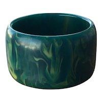 Marbleized Turquoise Aqua Rare Sleek WIDE Bakelite Bangle