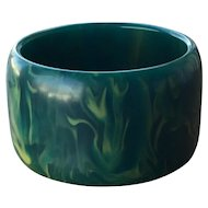 Marbleized Turquoise Aqua Rare Sleek WIDE Bakelite Bangle