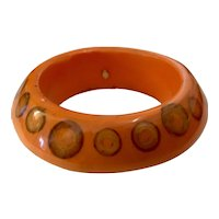 Kenneth Lane Salmon Toned Resin Airbrushed Dot Bangle Bracelet