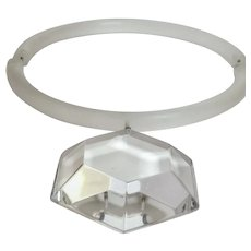 Judith Hendler Acri Gems Geometric Clear Acrylic Pendant and Frosted Acrylic Neck Ring Necklace