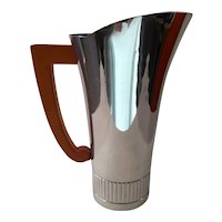 Norman Bel Geddes Design for CHASE Chrome Cocktail Pitcher Bakelite Handle