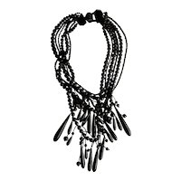 Monies  Gerda Lynggaard Danish Horn Mega Multi Strand Necklace with Teardrop Tassel Drops
